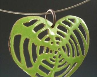 brass enameled spider web heart