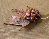 autumn harvest hairpin with freshwater pearls, garnets and copper sugar maple leaf (one-of-a-kind)