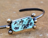 Sterling Silver Bracelet with Nugget Turquoise Stone