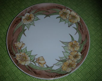 Vintage Handpainted Floral Plate in Rich Earth Colors Cottage Decor Wall Plate