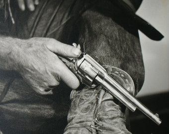 PRINT of Vintage Black and White Photo of Old Cowboy Boots, Hat and Gun Western Art Print