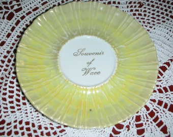 Vintage Luster Collector Plate Souvenir of Waco