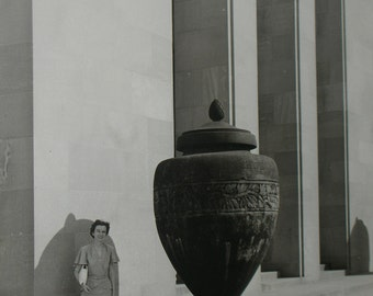 Vintage ORIGINAL Photo Black and White Mid-Century Travel Photo of Woman and Huge Pot