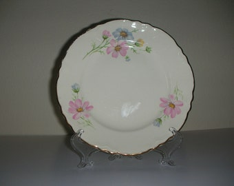 Vintage Homer Laughlin Bread Plate with Blue and Pink Wildflowers