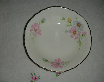 Vintage Homer Laughlin Berry Bowl with Blue and Pink Wildflowers