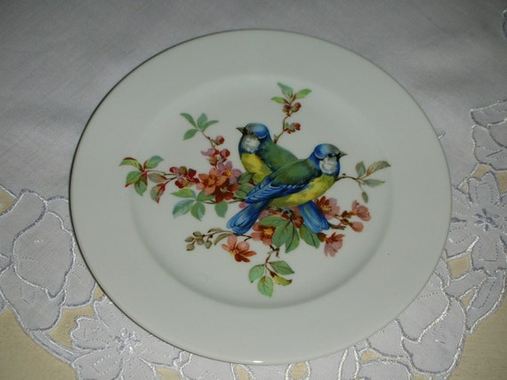 Lovely Vintage Bavarian Blue and Yellow Birds Plate Germany Schumann Arzberg