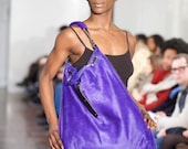One-off extra large shoulder bag in blueberry hair-on leather/calfskin with silver hardware