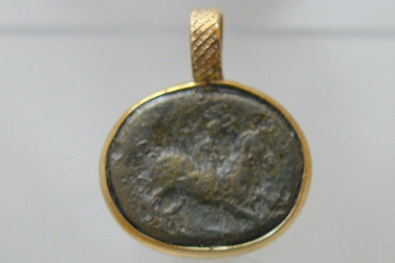 Greek Coin Pendant - Horse / Apollo set in 14kgf setting - Authentic 2000 plus year old bronze coin