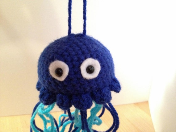 Blue Jellyfish - crocheted hanging decorative toy