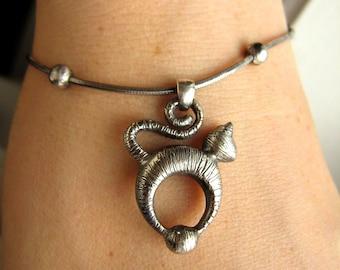 Tabby Cat Lover Bracelet - Handmade - Donation to Humane Society - Sterling silver - International Shipping - Rickson Jewellery