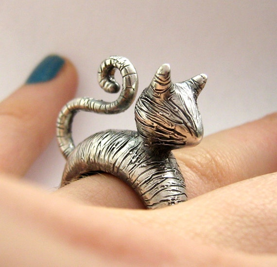 Cute Cat Lover Ring - Tabby Cat Version - Donation to Humane Society- Sterling silver - International Shipping - Rickson Jewellery