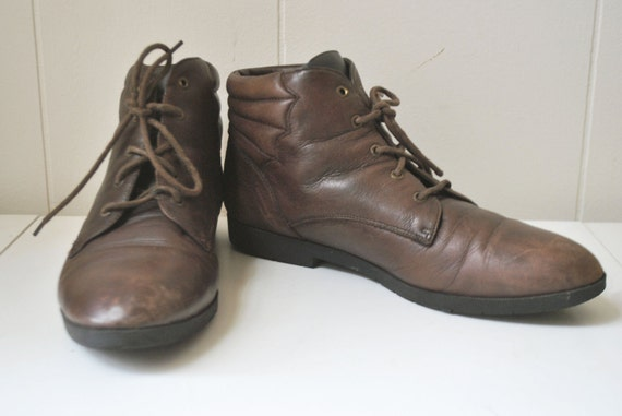 Vintage 80's Pixie Boots Brown Leather Size 7