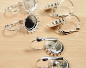 10 ct. 12mm Princess Crown - QUEEN Crown Styled Lever Back Earring Blanks- Makes 5 pair - Ships from USA. Optional Glass