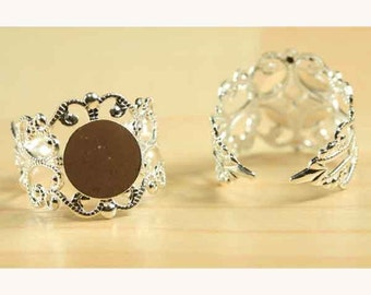 25 ct, Filigree Ring Base, Adjustable, Silver Plated - Open Band Ring