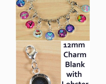 25 ct. 12mm Charm Pendant Tray with lobster clasp  - Ships from USA - See listing for Shopkeeper comment.