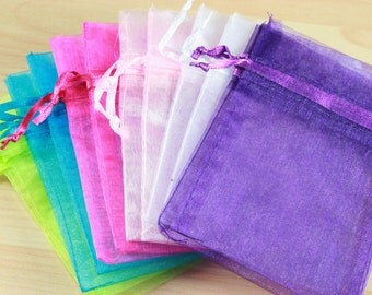 100 Organza Bags - assorted colors shown or pick your quantities from the colors - shown petite size, satin drawstring