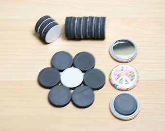 50 Adhesive Backed Craft Magnets - 3/4 inch - Use with 1 inch Hollow Back Buttons to Make Button Magnets