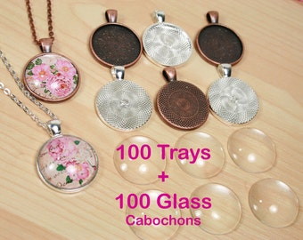SALE. 100  Blank 1 inch Pendant Trays.  Round  Shiny Silver Plated , Antique Bezels - 6 Finishes. Photo Charms. optional Glass