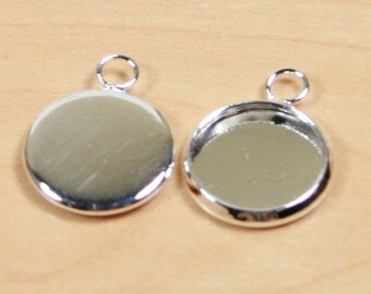 24 SETS Glass and Bezel 12mm Silver - Earring RECESSED  Charm Drops - Blank earring making, charms, bracelets, pendants - Ships from USA