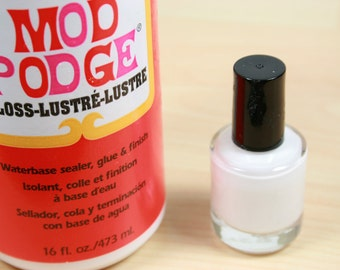 Mod Podge in a Bottle with Brush Applicator, .5 oz - Great for Glass Tile Making with Ink Jet Prints, Paper Bead Making,  No Mess - USA