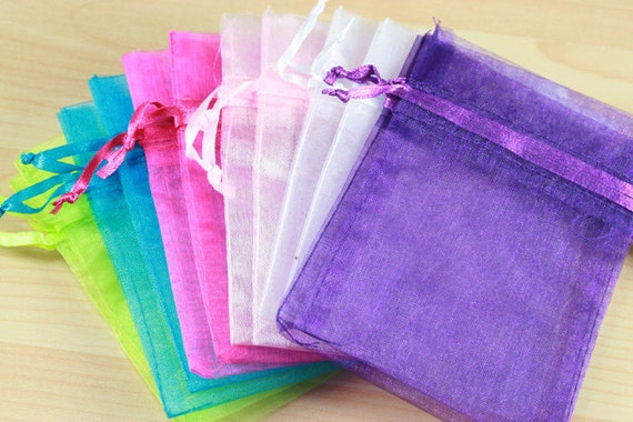 24 Organza Bags - Spring Colors and Pastels, Lime, Turquoise, Hot Pink, Light Pink, Mint, White, Purple, 3X4 size, satin drawstring