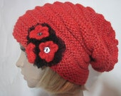Knit winter Oversized Beret neck warmer red slouchy hat mohair sheep wool  hat beanie tube scarf Red crochet flower Chunky Valentine gift