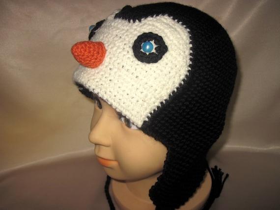 costume Hat Penguin Funny Animal Crochet Unisex Boys Girls childs kids Baby Acrylic Black White  gift Age 3,4,5 years
