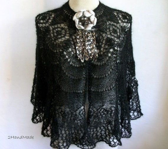 Black Mohair Lace Knitting Capelet Shawl Wrap  Wedding Bridesmaid Bride Women Lady 2012 Fashion Crochet Flower Brooch