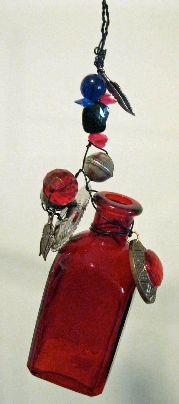 ruby red hanging bottle vase, rooter, incense holder