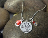 Custom Hand Stamped My Daddy My Hero Firefighter Charm Necklace for Toddler or Little Girl  Fireman Hat
