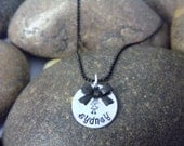 Custom Hand Stamped Little Black Bow Necklace