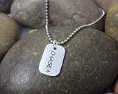 Custom Hand Stamped Mini Dog Tag Necklace