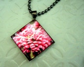 Glass Tile Pendant with Original Pink Flower Photo