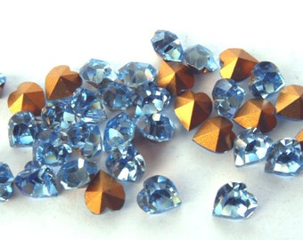 18 Swarovski 5x5.5mm Light Sapphire Hearts-Loose Rhinestones-Bulk Rhinestones-Wholesale Rhinestones-Loose Crystals