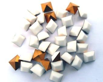 36 Vintage Swarovski 5mm Chalk White Square Rhinestones-Loose Rhinestones-Bulk Rhinestones-Wholesale Rhinestones-Loose Crystals