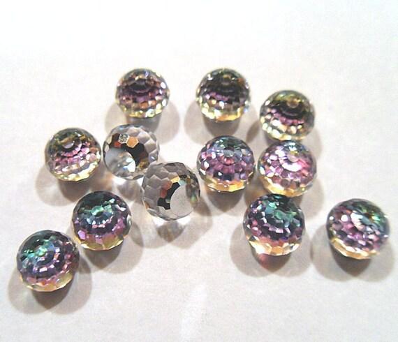 12 Swarovski 6mm Faceted Vitrail Light Flat Backed Ball Rhinestones-bulk rhinestones-wholesale rhinestones-jewelry supplies