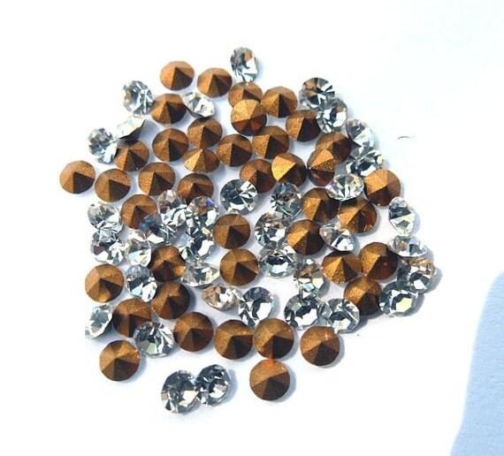 72 Vintage Swarovski 24PP clear crystal round rhinestones-bulk rhinestones-wholesale rhinestones-jewelry supplies-loose rhinestones