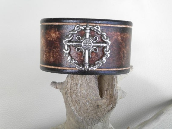 Wristband-Leather-Handmade with Silver Cross