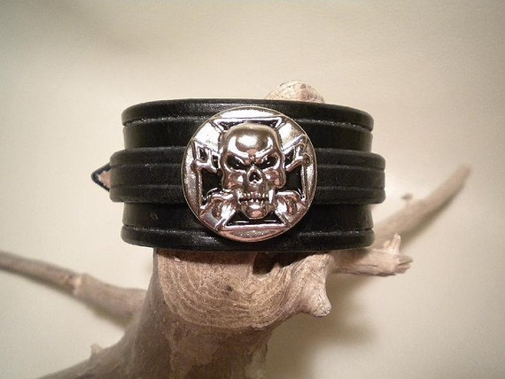 Leather Wristband with Skull Concho and Buckle Strap- Special Price-Discount-Reg.-12.95
