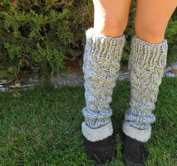 Gray Knitted  Cabled Leg Warmers