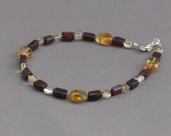 Bracelet - Garnet, Citrine and Silver