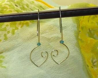 Earrings - Sterling Silver Wire Hearts - Swarovski Crystal
