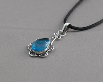 Pendant - Blue Glass Teardrop in Antiqued Sterling Silver