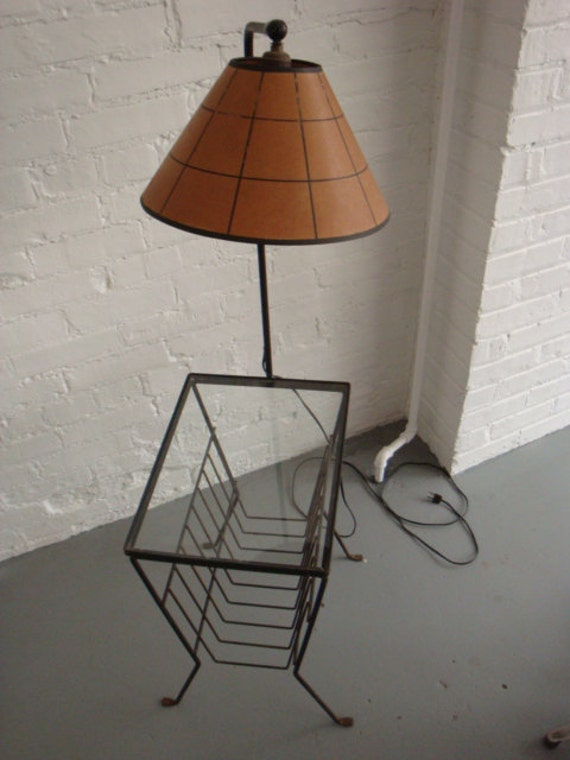vintage side table with attached lamp. Black Bedroom Furniture Sets. Home Design Ideas