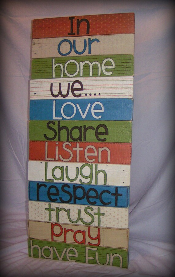 Items Similar To Handpainted Family Wall Hanging Upcycled