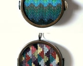 Double-Sided Ombre Cross Stitch Necklace
