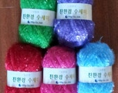 5 Sparkly Yarns for a bag or scrubber