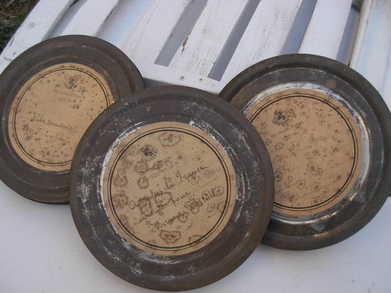 Reserved for Chris W.  Vintage French Film Reel Tins