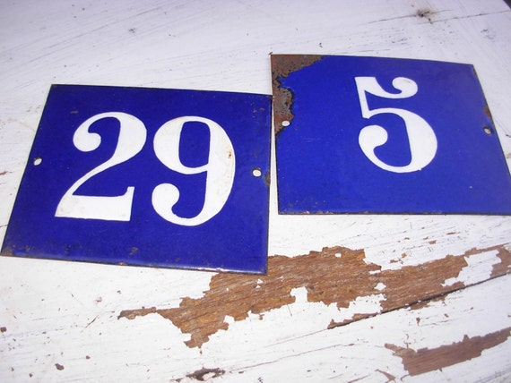 RESERVED for SUSAN   No  5  Antique French Blue Enamel House Number