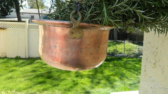 Antique French  Hand Hammered Copper Pot